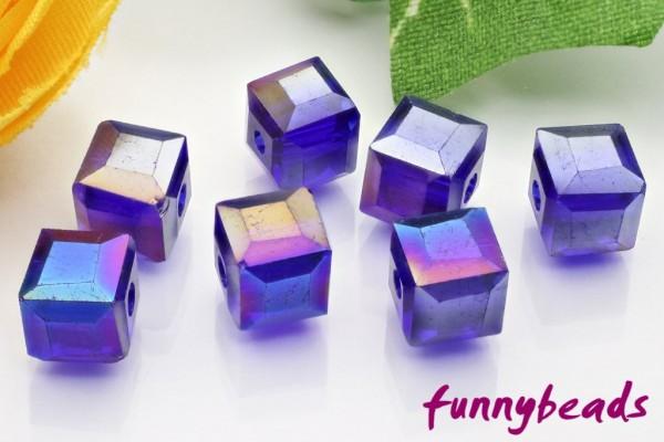 20 Glaswürfel facettiert blue AB 6 x 6 mm