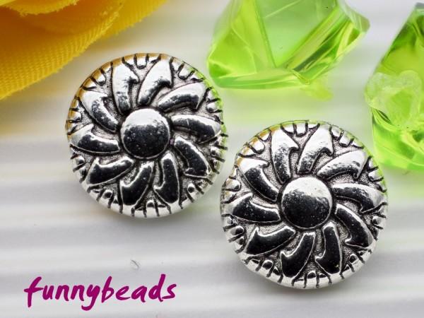 5 Metallperlen flach platinfarben 11 mm