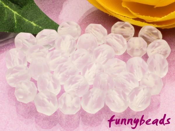 50 Glasschliffperlen matte crystal 6 mm
