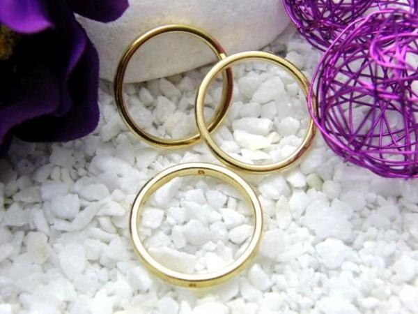 3 Metall Ringe 25 mm vergoldet