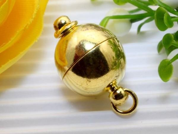 Magnetverschluss Kugel goldfarben 12 mm mit Ringen