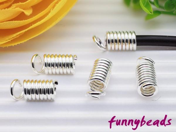 4 Spiralendkappen silber für 2 mm Bänder