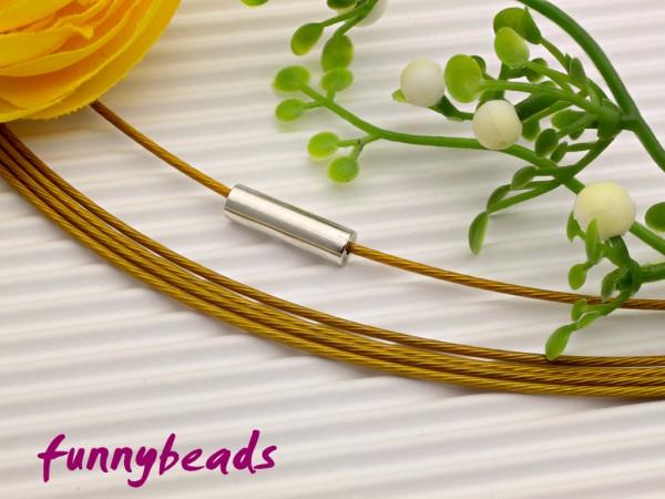 1 Halsreifen Edelstahl mit Magnetverschluss goldfarben 1 mm
