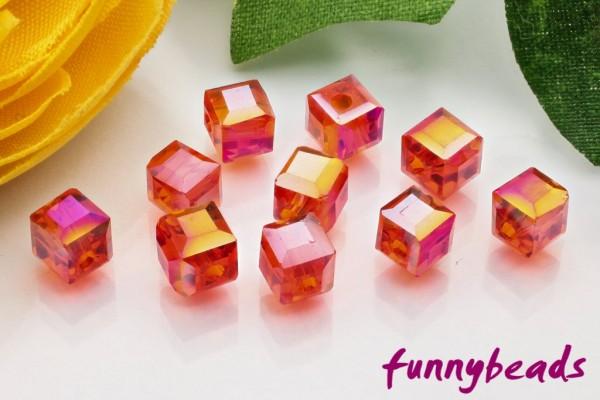 30 Glaswürfel facettiert red AB 4 x 4 mm