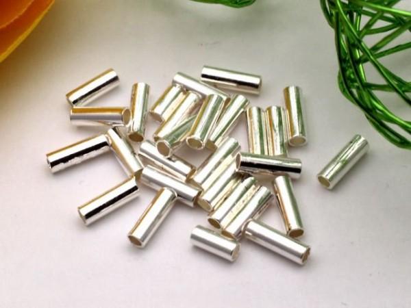 100 Metallröhrchen silberfarben 6mm