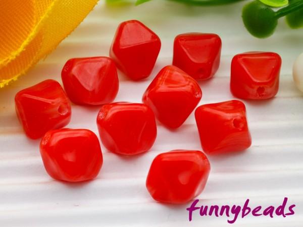 50 Glasperlen Doppelpyramide rot 6 mm
