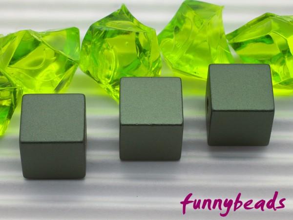 Aluminiumwürfel dunkelgrün 8 mm