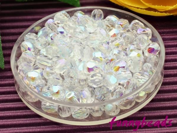 100 Glasschliffperlen crystal AB 4 mm