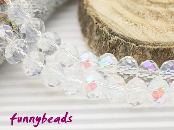 20 Glasschliffperlen Rondelle kristall AB 6 x 4 mm