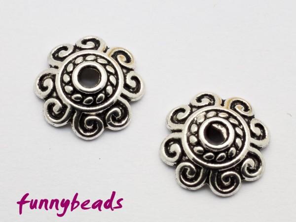 Perlenkappe Spiralmuster antiksilber 10 mm