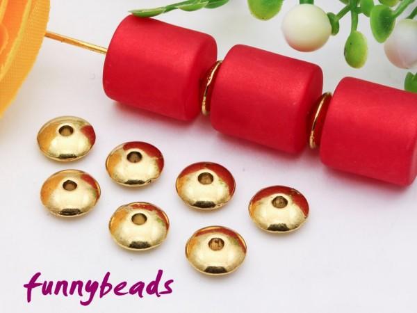 50 Metallperlen Scheiben goldfarben 6 mm