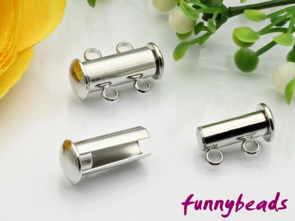 Magnetschiebeverschluss zweireihig platinfarben 16 mm
