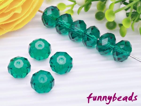 10 Glasschliffperlen Rondelle blaugrün 8 x 6 mm