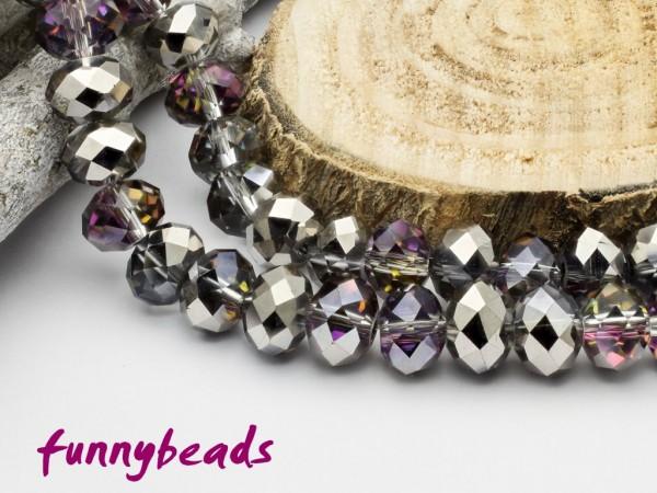 10 Glasschliffperlen Rondelle kristall vitrail silber metallic 8 x 6 mm