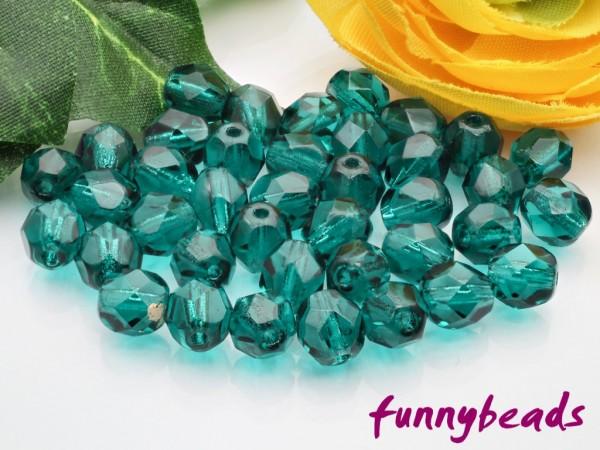 50 Glasschliffperlen teal 6 mm