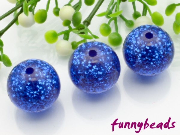 Polarisperle rund Glitzer 10 mm königsblau