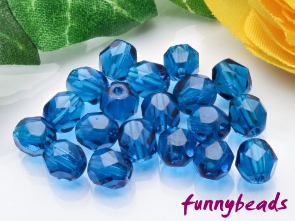 50 Glasschliffperlen capri blue 6 mm