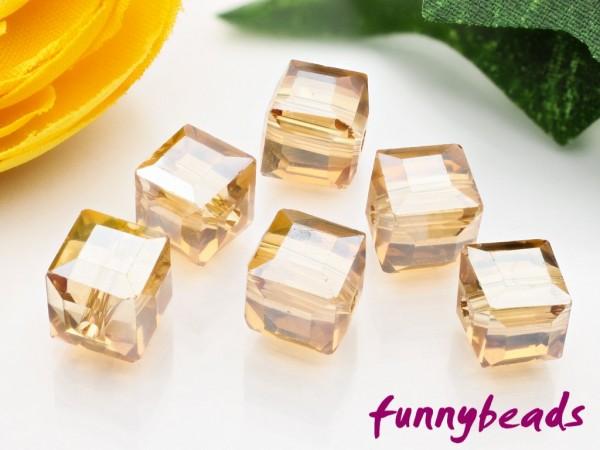 30 Glaswürfel facettiert rainbow sandy brown 4 x 4 mm