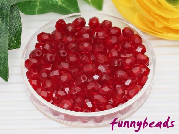 100 Glasschliffperlen siam ruby 3 mm