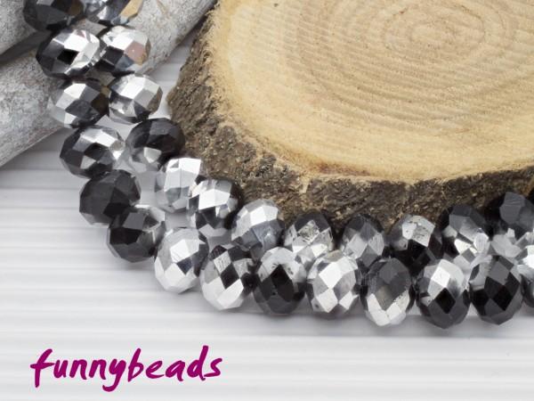 10 Glasschliffperlen Rondelle schwarz silber 8 x 6 mm