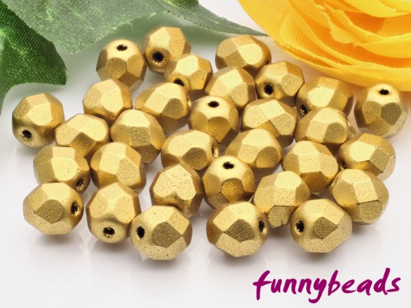 50 Glasschliffperlen matte metallic aztec gold 6 mm