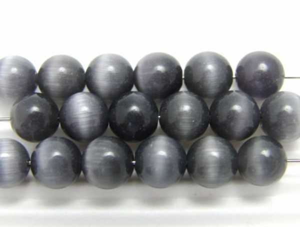 30 Cateyeperlen anthrazit 6 mm
