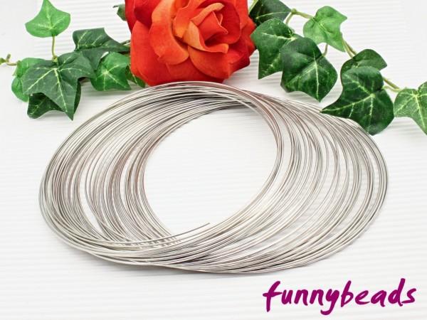 Memory Wire für Halsreifen platinfarben 11,5 cm / 1,0 mm (10 Windungen)