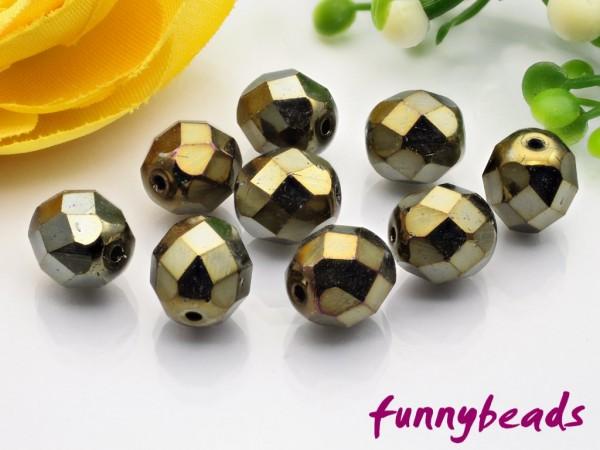 20 Glasschliffperlen iris brown 8 mm