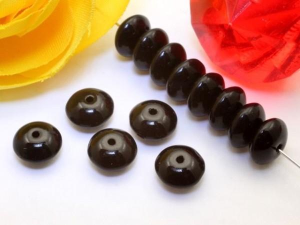 20 Glasperlen Donuts schwarz 7 mm