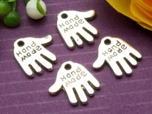 "10 Anhänger Hand ""Handmade"" platin"