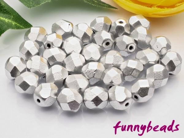 50 Glasschliffperlen matte metallic aluminum 6 mm