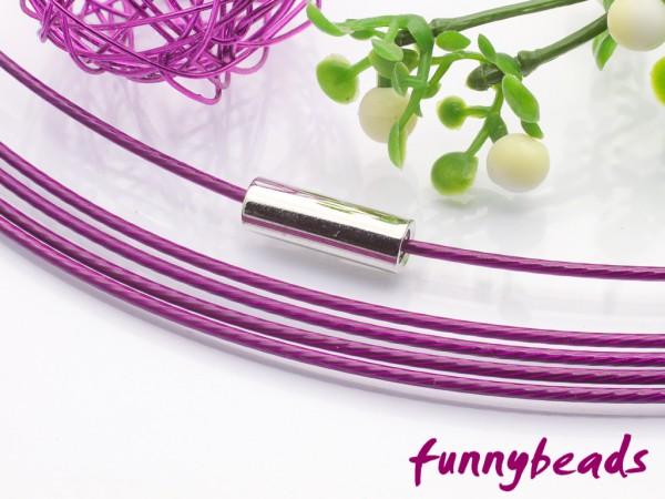 1 Halsreifen Edelstahl lila 1 mm mit glattem Drehverschluss