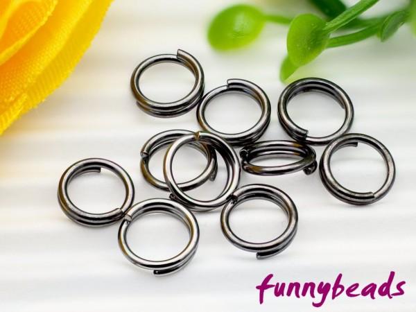 80 Schlüsselringe (Spaltringe doppelt gebogen) schwarz 5 mm