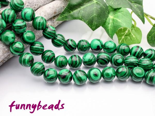 synth. Malachit 10 mm grün gefärbt Halbstrang