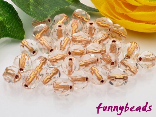 50 Glasschliffperlen copper lined crystal 6 mm