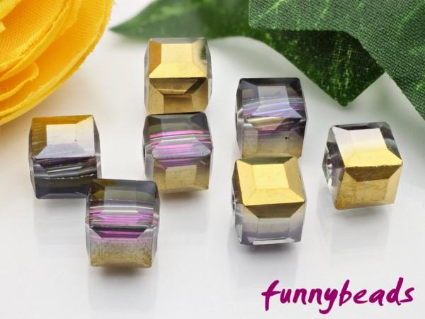 10 Glaswürfel facettiert half plated plum 8 x 8 mm