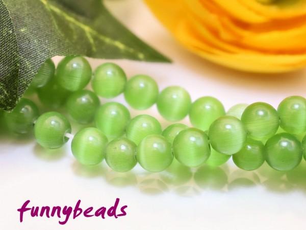 30 Cateyeperlen grün 6 mm
