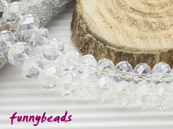 10 Glasschliffperlen Rondelle kristall 8 x 6 mm